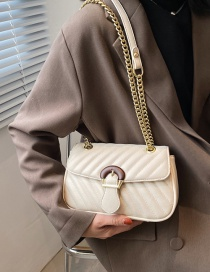 Fashion White Lingge Embroidery Thread Chain Shoulder Messenger Bag