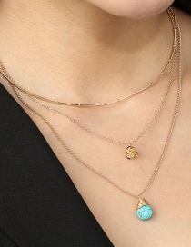 Fashion Golden Turquoise Multi-layered Gold Rose Necklace