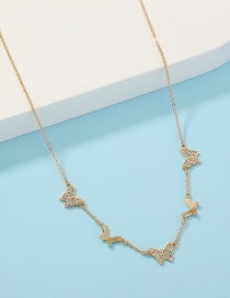 Fashion Golden Single Layer Necklace With Diamond And Butterfly Tassels