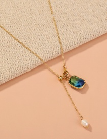Fashion Blue Square Dark Blue Crystal Single Layer Necklace