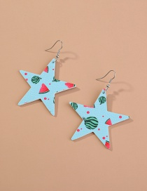Fashion Five-pointed Star-blue Watermelon Five-pointed Star Fruit Print Leather Earrings