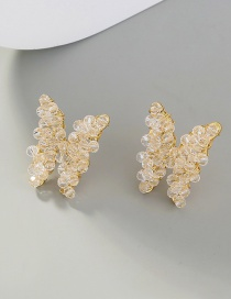 Fashion Transparent Wrapped Transparent Crystal Butterfly Earrings