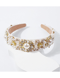 Fashion Pearl White Diamond Imitation Pearl Headband