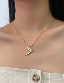 Fashion Golden Alloy Diamond Angel Necklace