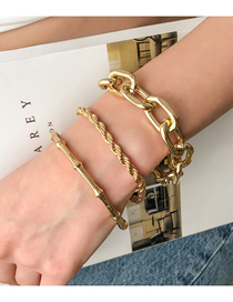 Fashion Golden Twist Chain Bracelet Bamboo Bracelet Set