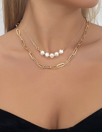 Fashion Golden Imitation Pearl Alloy Chain Double Necklace
