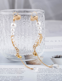 Fashion Ear Acupuncture Pearl Crystal Metal Shell Earrings