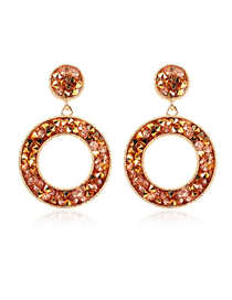 Fashion Pink Round Earrings With Diamonds
