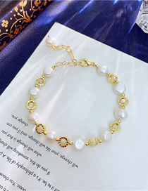 Fashion Gold Color Freshwater Pearl Golden Geometric Bracelet