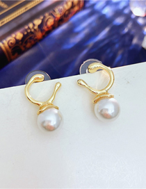 Fashion Gold Color Pearl Metal Earrings
