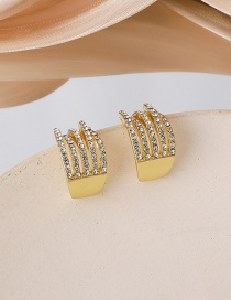 Fashion Golden Rhinestone Multilayer Curved Earrings