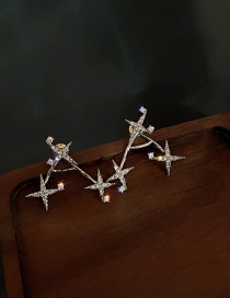 Fashion Silver Color Needle Micro-set Zircon Four-pointed Star Stud Earrings
