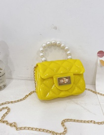 Fashion Yellow Childrens Jelly Color Rubber Pearl Portable Shoulder Bag