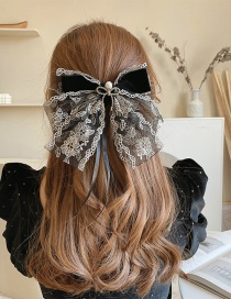 Fashion Black Bow Pearl Lace Gauze Bow Hairpin