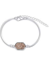 Fashion X Silver Color + Brown Crystal Cluster Multicolor Diamond Bracelet