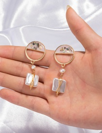 Fashion Pearl Oil Drop Color Shell Square Pearl Earrings