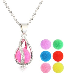 Fashion Spiral Water Drop + 6 Colored Balls Spiral Drop Aroma Necklace