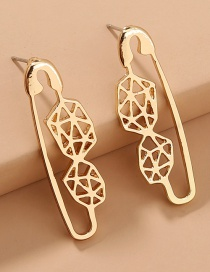 Fashion Gold Color Circle Hollow Polygonal Earrings