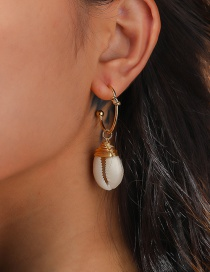 Fashion Gold Color C-shaped Braided White Shell Earrings