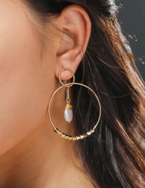 Fashion Gold Color Round Circle Line Flat Pearl Earrings
