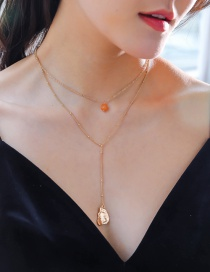 Fashion Gold Color Yellow Natural Stone Golden Shaped Beating Water Drop Necklace