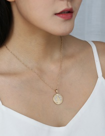 Fashion Gold Color Round Coin Micro Diamond Angel Wing Necklace