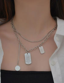 Fashion Steel Color Double-layer Square Brand Multilayer Necklace