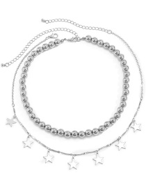 Fashion Silver Color Metal Ccb Round Beads And Star Necklace
