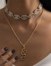 Fashion Gold Color Metal Full Rhinestone Pig Nose Buckle Micro Inlaid Snake-shaped Necklace