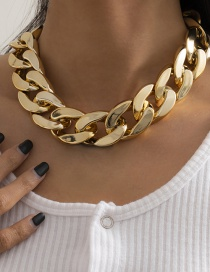Fashion Gold Color Geometric Chain Stitching Ccb Necklace