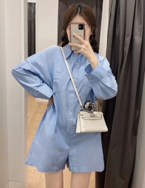 Fashion Blue Shirt Jumpsuit