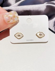 Fashion Real Gold Plated Lip Stud Earrings With Diamonds And Shells