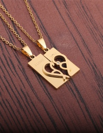 Fashion Gold Color 1 Titanium Steel Fully Polished Love Necklace