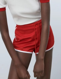 Fashion Red Paneled Lace-up Shorts