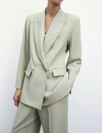 Fashion Green Slim-fit Double-breasted Blazer