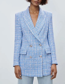 Fashion Blue Plaid Texture Blazer
