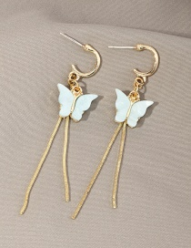 Fashion White Fringed Acrylic Butterfly Earrings