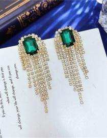 Fashion Green Tassel Geometric Emerald Earrings