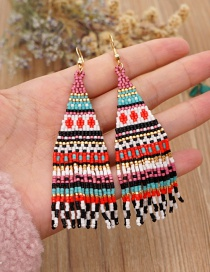 Fashion Color Striped Color Matching Beige Bead Woven Beaded Tassel Earrings