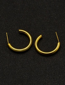 Fashion Gold Color Stainless Steel Semi-circular Earrings