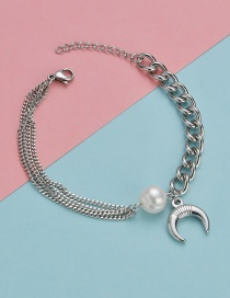 Fashion Steel Color Moon Pearl Stitching Chain Bracelet