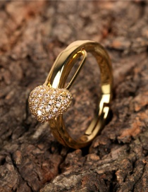 Fashion Gold Color Love Heart Encrusted Diamond Paperclip Ring