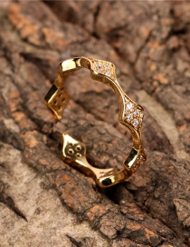 Fashion Gold Color Adjustable Ring With Diamond Geometric Opening