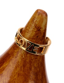 Fashion Gold Color Glossy Hollow Letter English Love Ring