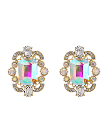 Fashion Ab Color Alloy Diamond Geometric Shape Earrings