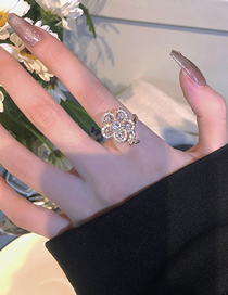 Fashion Gold Color Ring Diamond Butterfly Flower Open Ring