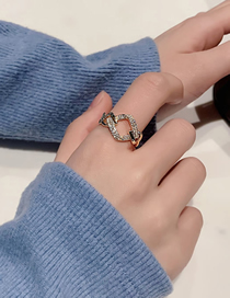 Fashion Gold Color Ring Open Zircon Ring With Diamond Chain