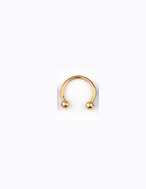 Fashion Golden Stainless Steel Piercing Ball C-shaped Nose Ring