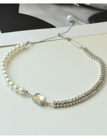 Fashion White Pearl Adjustable Pearl And Diamond Necklace