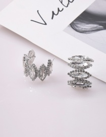 Fashion Silver Color Hollow Curved Semi-circular Earrings